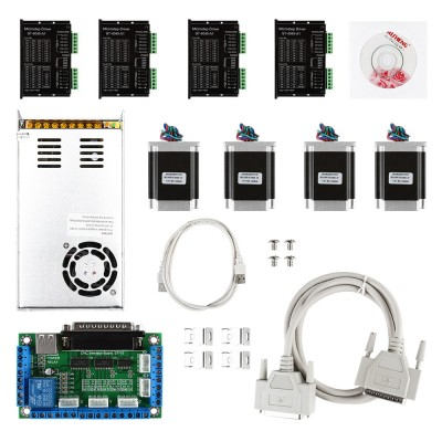 CNC 4-Axis kit 5 with TB6600 Motor Driver, Parallel Interface Breakout Board, Nema23 Stepper Motor and 24V Power Supply