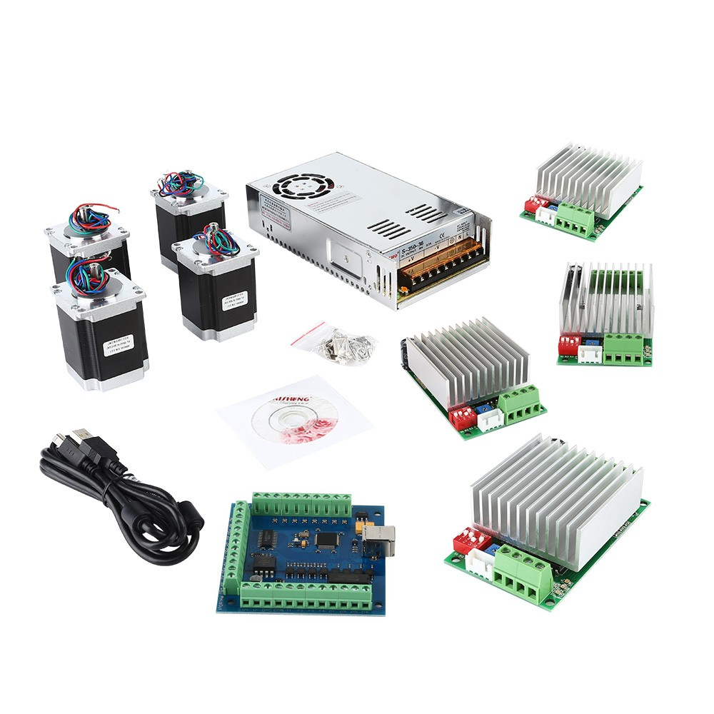 Cnc 4 axis kit 4 with tb6600 motor driver mach3 usb for Usb stepper motor controller
