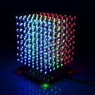 SainSmart 3D LightSquared DIY Kit 8x8x8 5mm White LED Cube Red Green Blue Squared Music MP3 Lamp