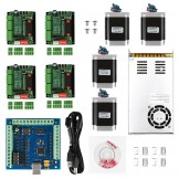 CNC 4-Axis Kit 2 with TB6560 Motor Driver, USB Controller Card, 270 oz-in Nema23 Stepper Motor and 24V Power Supply