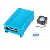 SainSmart Blue Aluminum Alloy Protective Case with Cooling Fan for Raspberry Pi 3  Model B and Pi 2 Model B+