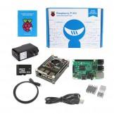 Raspberry Pi 3 -QUAD Core Black Rainbow Case SD Heatsink HDMI Complete Kit – (2016 Model)