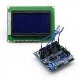 SainSmart 12864 Graphic Blue LCD + Sensor Shield V5 for Arduino UNO MEGA R3 ATMEL AVR