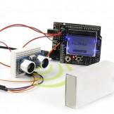 SainSmart UNO R3+ SainSmart Graphic LCD4884 Shield + SainSmart Prototype Shield + HC-SR04, Ultrasonic, Distance Sensor