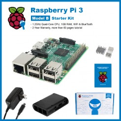 SainSmart Raspberry Pi 3 Starter Kit : ABS Case + 3x Heat Sinks + USB Charger (UL Listed) Tutorials&Codes