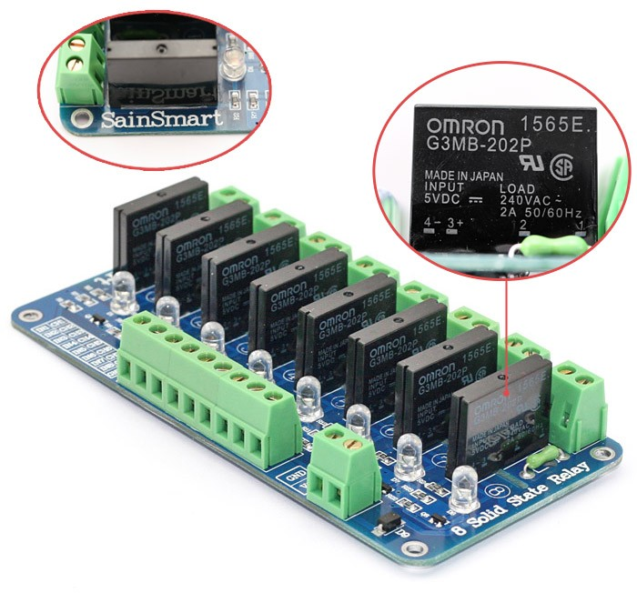 8 Channel 5v Solid State Relay Module Board Omron Ssr 4