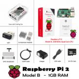 Raspberry Pi 2 Model B Set Kit mit Gehäuse, Netzteil, WLAN, HDMI, SD, Kühlkörper