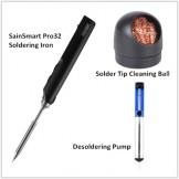 SainSmart Soldering Tool Set, Pro32 PR-BC2 Soldering Iron + Solder Tip Cleaning + Desoldering Pump
