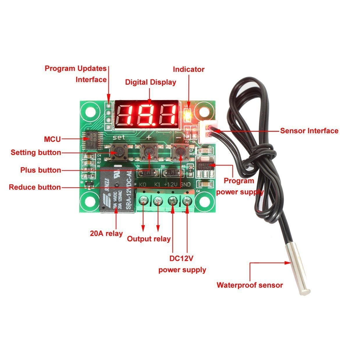 50 110 c w1209 digital thermostat temperature control switch 12v sensor 3d printing arduino. Black Bedroom Furniture Sets. Home Design Ideas